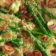 Scallops, Asparagus, and Artichoke Gratin