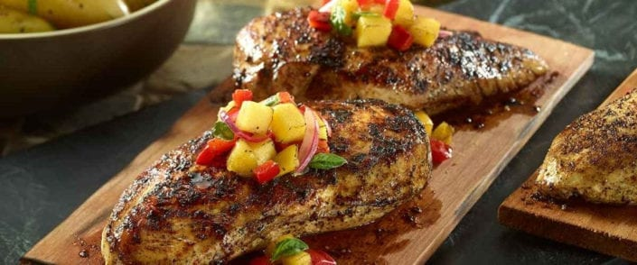 Plank Grilled Chicken with Fruit Salsa