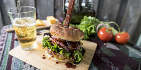 Caramelized Onion BBQ Bacon Burger