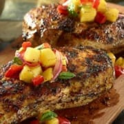 Plank Grilled Chicken with Fruit Salsa560